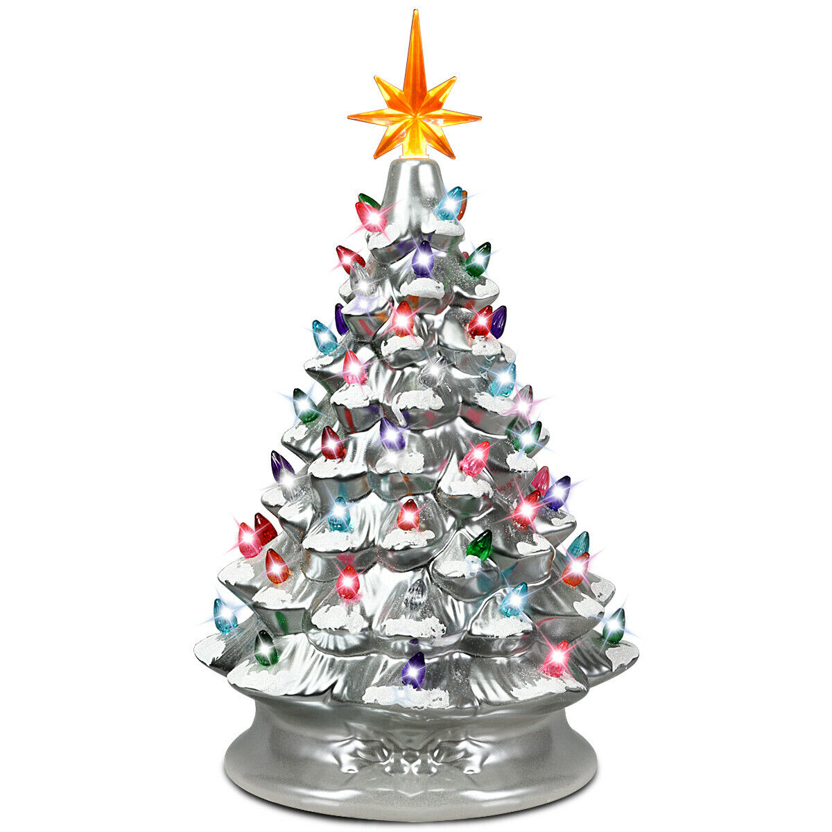 Gymax 15 Inch Artificial Christmas Tree Tabletop Luminous ...
