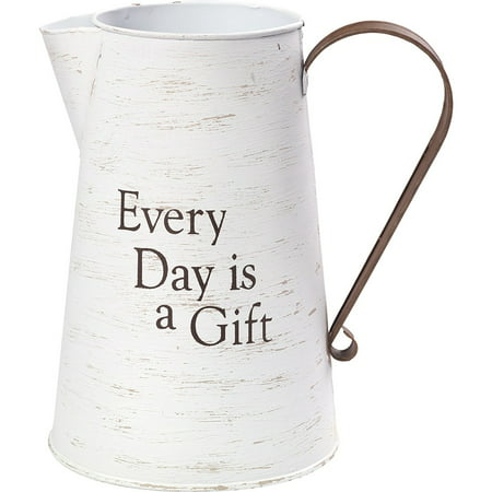 Precious Moments Every Day Is A Gift Rustic Farmhouse Distressed Metal Decorative Container And Vase 173430 ()