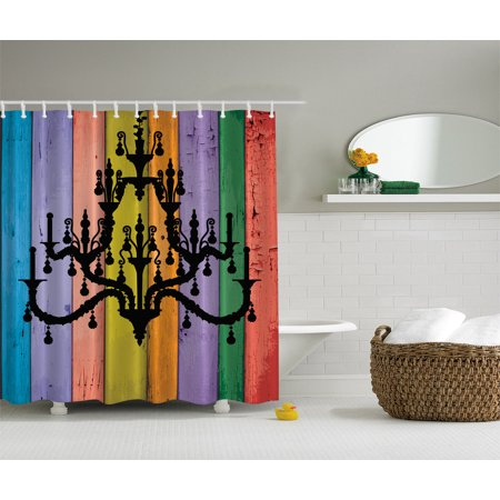Rustic Bath Colorful Wooden Planks Black Chandelier Modern Fancy Shower Curtain