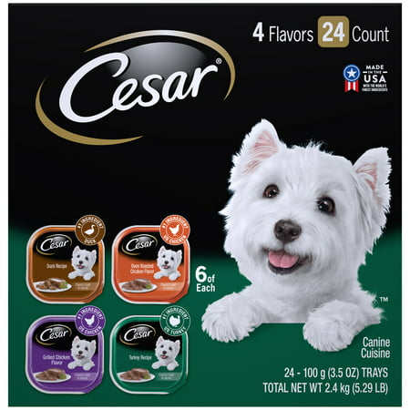 CESAR Wet Dog Food Poultry Variety Pack, (24) 3.5 oz. Trays with Real Chicken, Turkey or Duck
