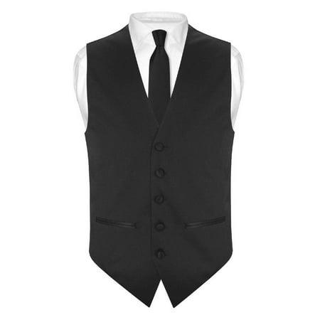 Mens SLIM FIT Dress Vest Skinny NeckTie BLACK 2.5