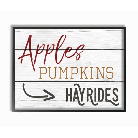 The Stupell Home Decor Collection Apples Pumpkins Hayrides Vintage Sign Framed Giclee Texturized Art, 11 x 1.5 x 14 (Pumpkin Art)