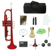 Suzicca Brass Trumpet Bb B Flat with Mouthpiece Carry Bag Tuner Mute Trumpet Stand Gloves Cleaning Tools Wind Instrument