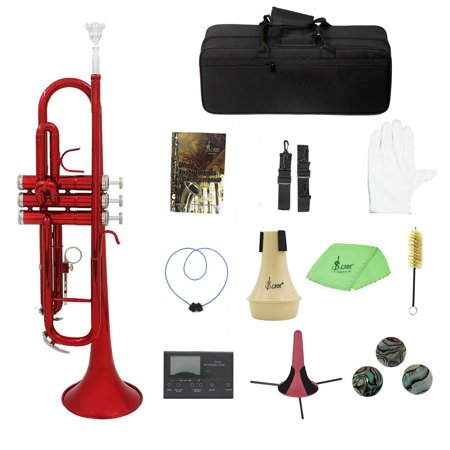 Brass Trumpet Bb B Flat with Mouthpiece Carry Bag Tuner Mute Trumpet Stand Gloves Cleaning Tools Wind (Best Trumpet Tuner App)