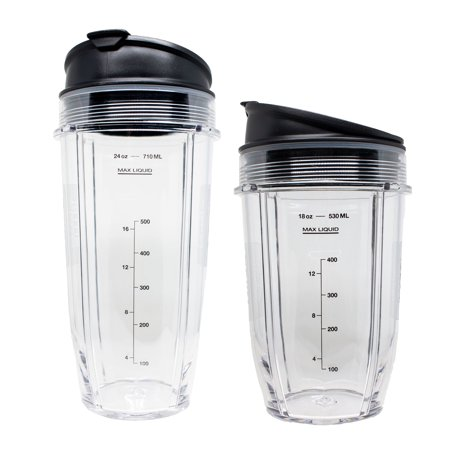 SharkNinja Tritan Nutri Ninja 18 and 24 Ounce Cups with Sip and Seal