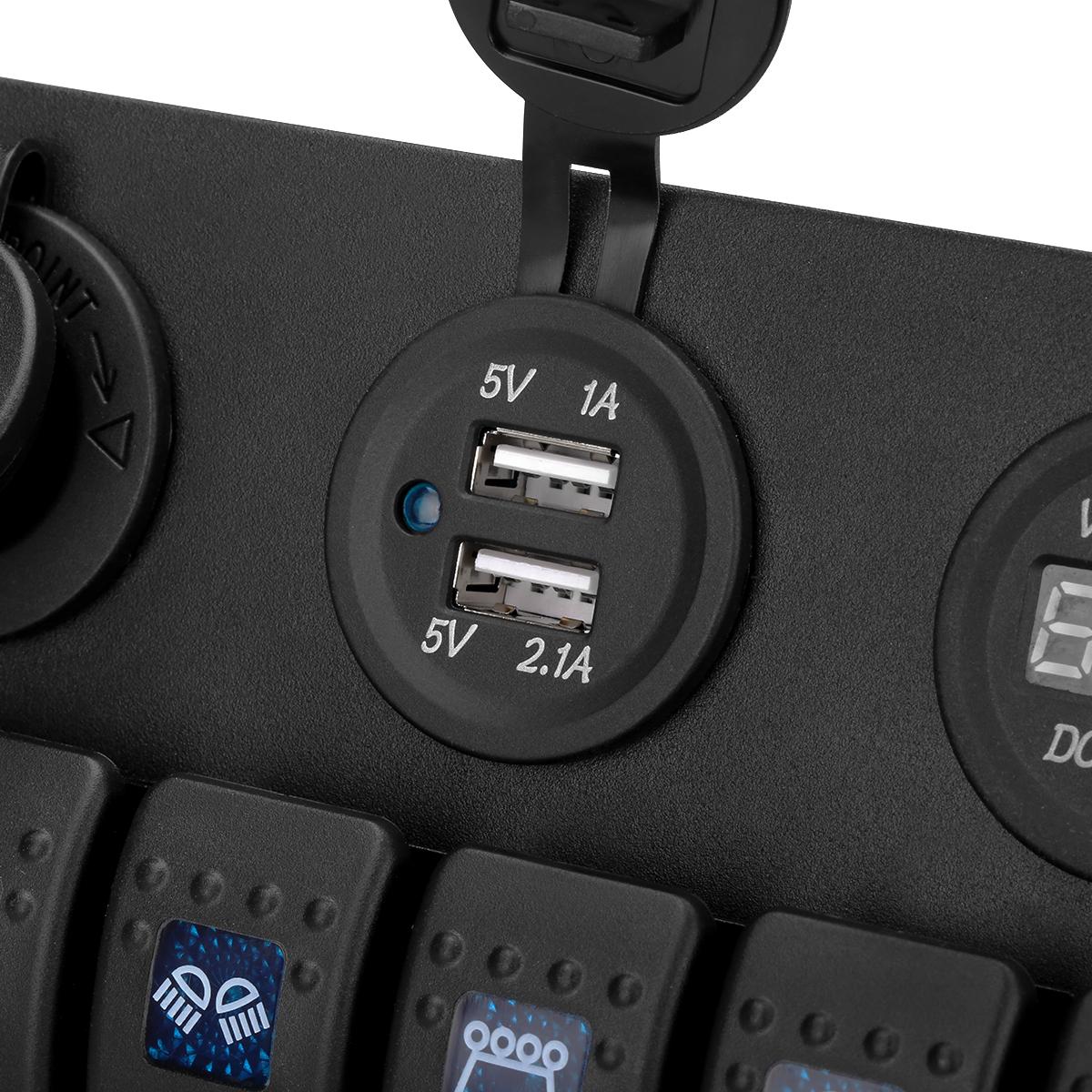 Excelvan Digital 12v 24v Switch Panel Waterproof Dual Usb Charger 12 Volt Wiring Diagram Moreover Dc Circuit Breaker Cigarette Lighter Socket Voltmeter Boat Car Marine Rocker 6 Gang