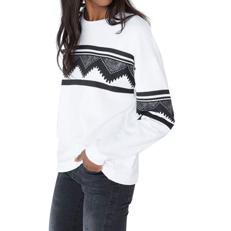 STARVNC Women Crew Neck Long Sleeve Geometry Print Pullover Sweater