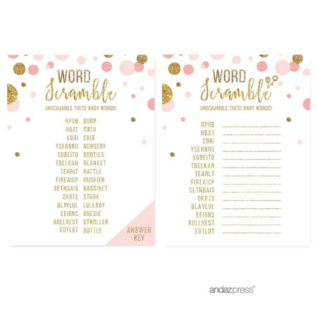 Word Scramble Game  Blush Pink Gold Glitter Baby Shower Games, 20-Pack - Baby Showe Games