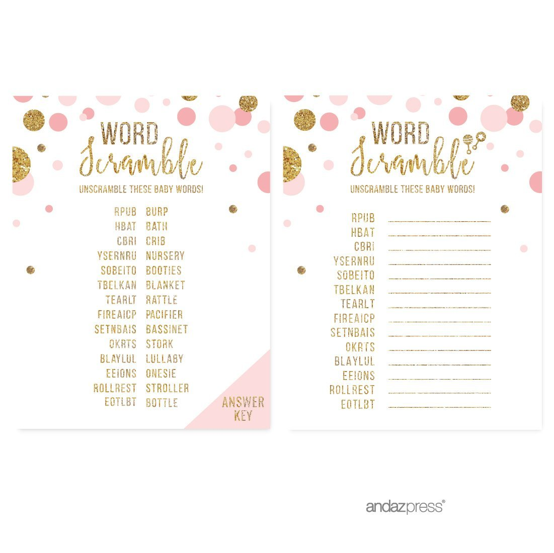 Word Scramble Game Blush Pink Gold Glitter Baby Shower Games, 20 Pack