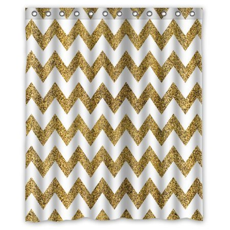 MOHome Gold And White Chevron Shower Curtain Waterproof Polyester Fabric Size 60x72 Inches