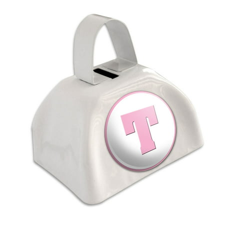 Letter T Initial Baby Girl Block Font Pink Shower White Cowbell Cow Bell (Pink Cowbell)