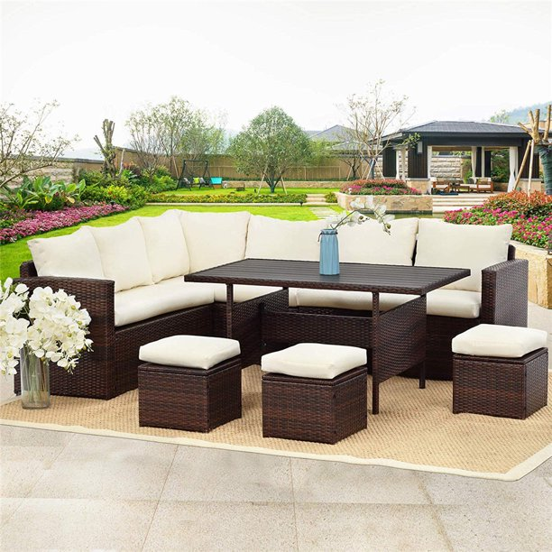 7 Pcs Outdoor Conversation Set All, Outdoor Sectional Couch With Dining Table