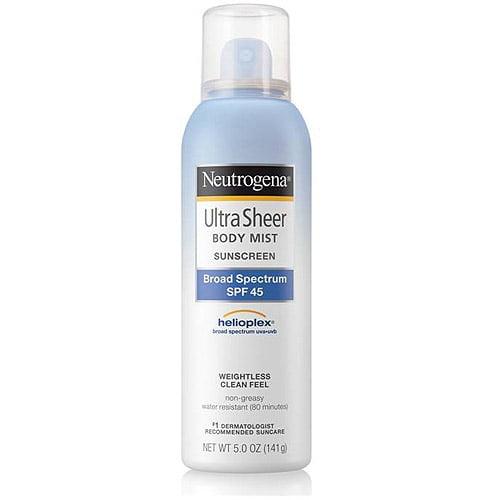 Neutrogena Ultra Sheer Body Mist Sunscreen Spray Broad Spectrum SPF 45, 5 fl oz