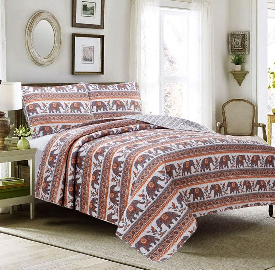 King 3 Piece Quilt Set Coverlet Bedspread Elephant Boho Mandala Damask Medallion, Orange Coral Gray