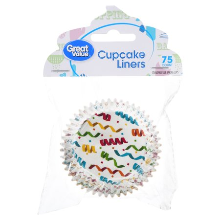 (4 Pack) Great Value Cupcake Liners, Confetti Design, 75 Count (Liners Value Pack)