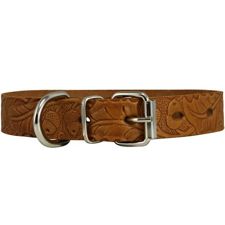 - Genuine Tooled Leather Dog Collar Floral Pattern Tan 3 Sizes (Neck Circumf: 10