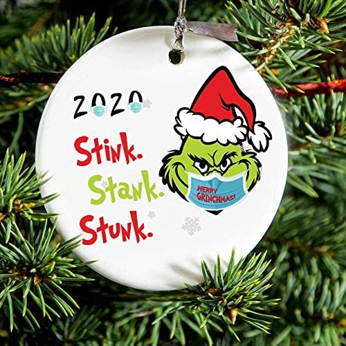 Moonsteps Grinch Christmas Hanging Ornaments,Personalize Grinch 2020 Stink Stank Stunk Ornament