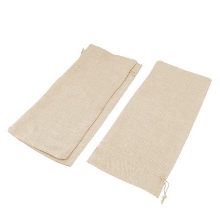 Wedding Cotton Linen Drawstring Wine Storage Bag Pouch Khaki 34.5cm x 15cm 3 Pcs