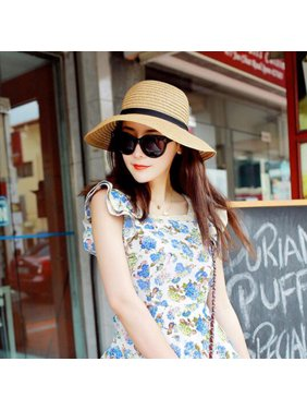 2b72f51cf7e Product Image Elegant Women Summer Beach Hat New Wide Brim Style Sun Straw  Floppy Hat
