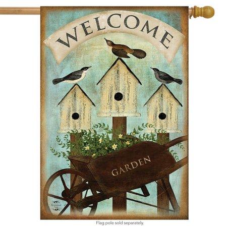 Birdhouse Flag (Wheelbarrow Welcome Spring House Flag Birdhouses Floral 28