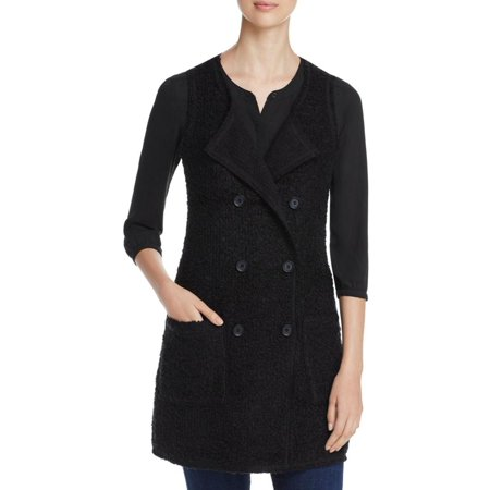 Classic Wool Vest - Sanctuary Womens Double Breasted Wool Blend Outerwear Vest