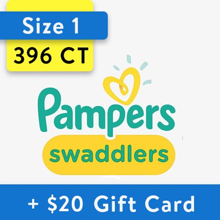 [Buy 2, Get $20 Gift Card] Pampers Swaddlers Diapers Size 1, 198 Count (Total 396