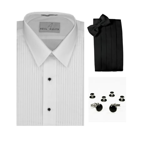 Lay-Down Collar Tuxedo Shirt, Cummerbund, Bow-Tie, Cuff Links and Studs Set Tuxedo Shirt Studs