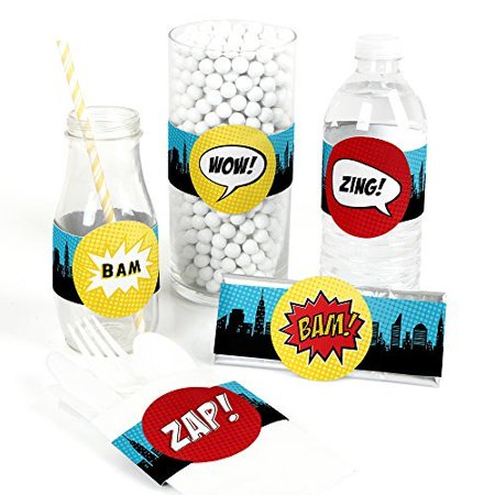 BAM! Superhero - DIY Baby Shower or Birthday Party Wrapper Favors - Set of 15](Superheroes Party)