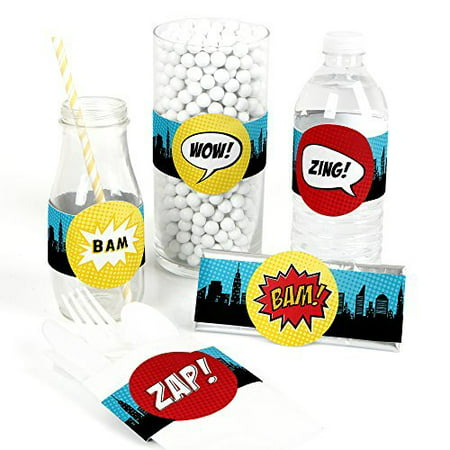 BAM! Superhero - DIY Baby Shower or Birthday Party Wrapper Favors - Set of 15](Baby Super Hero)