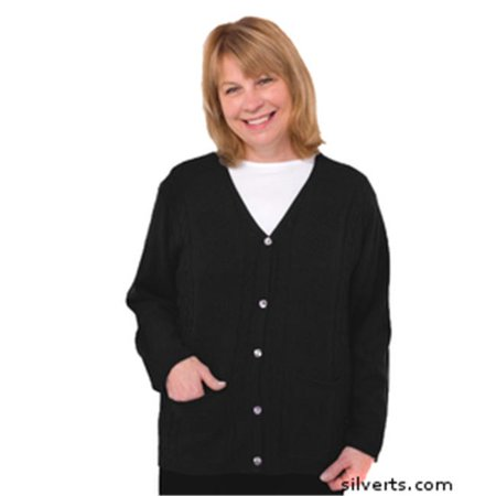 Silvert s - Silverts 270802405 Womens Adaptive Clothing - Acrylic Cardigan  With Pockets - Extra Large  44  Black - Walmart.com ebb69b5bb