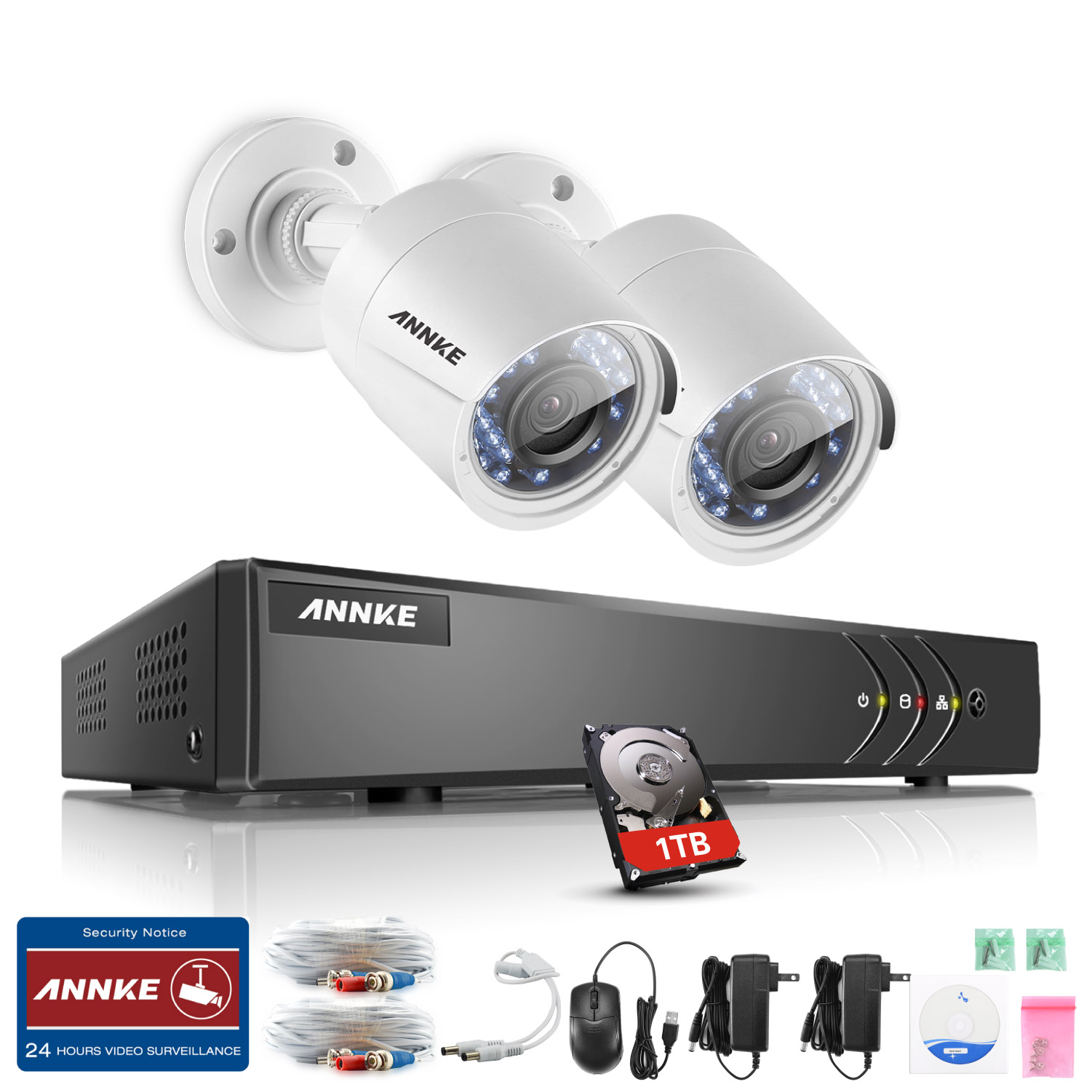 ANNKE 4CH 720P Security DVR Security System and 2Pcs Indoor/Outdoor Weatherproof 1.0MP Cameras-Black& NO Hard Drive Disk