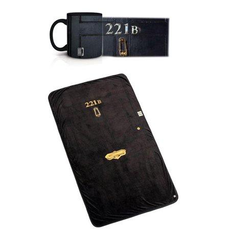 """Sherlock 221B Bundle: Coffee Mug and 50""""x85"""" Fleece Throw Blanket"""