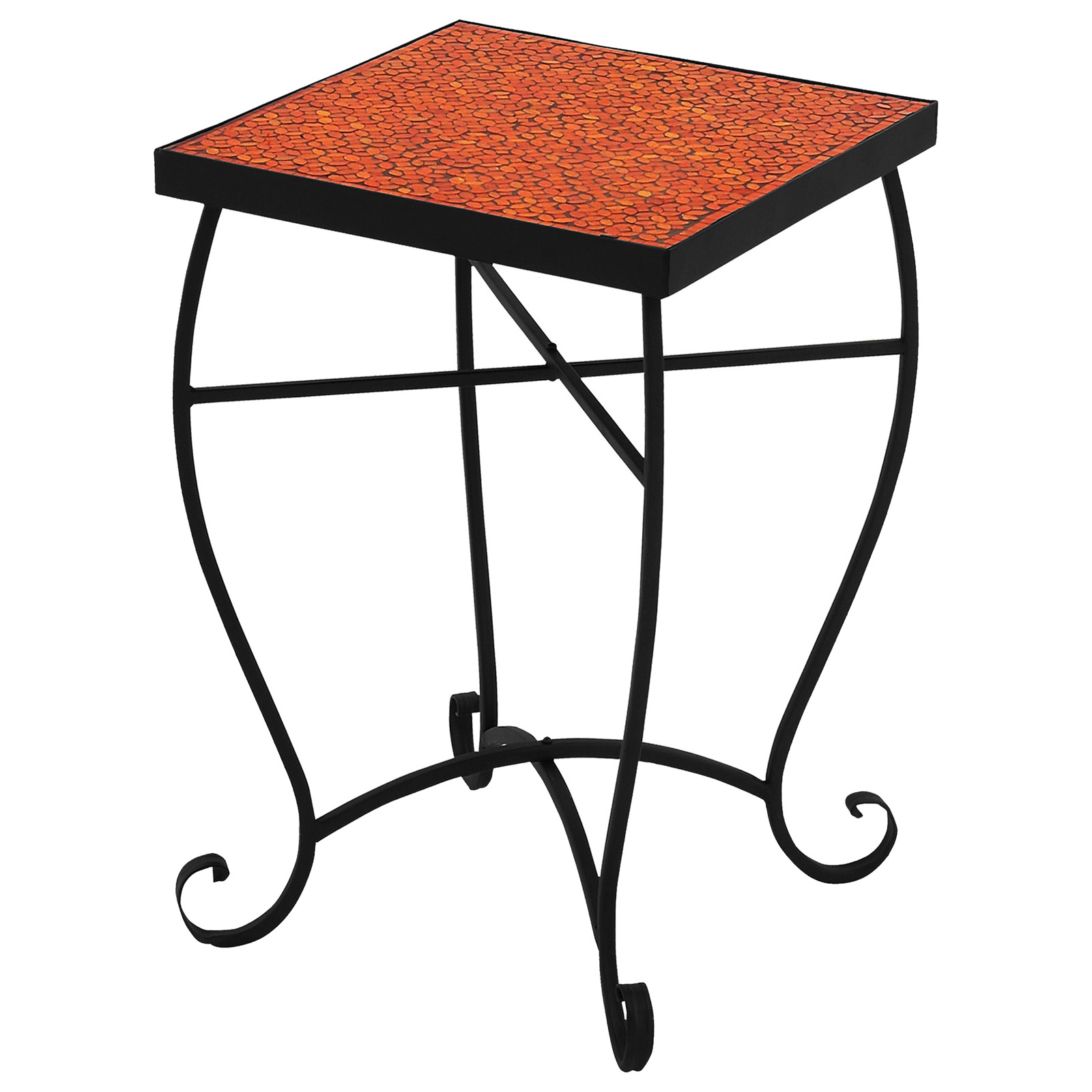 Urban Designs Moroccan Mosaic Fire Orange Square Accent Table