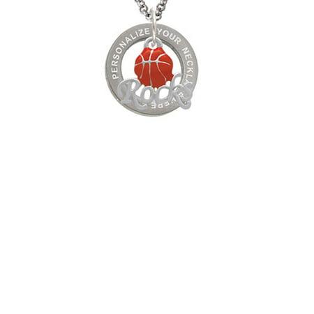 Enamel Basketball ''Rocks'' Custom Engraved Affirmation Ring Necklace