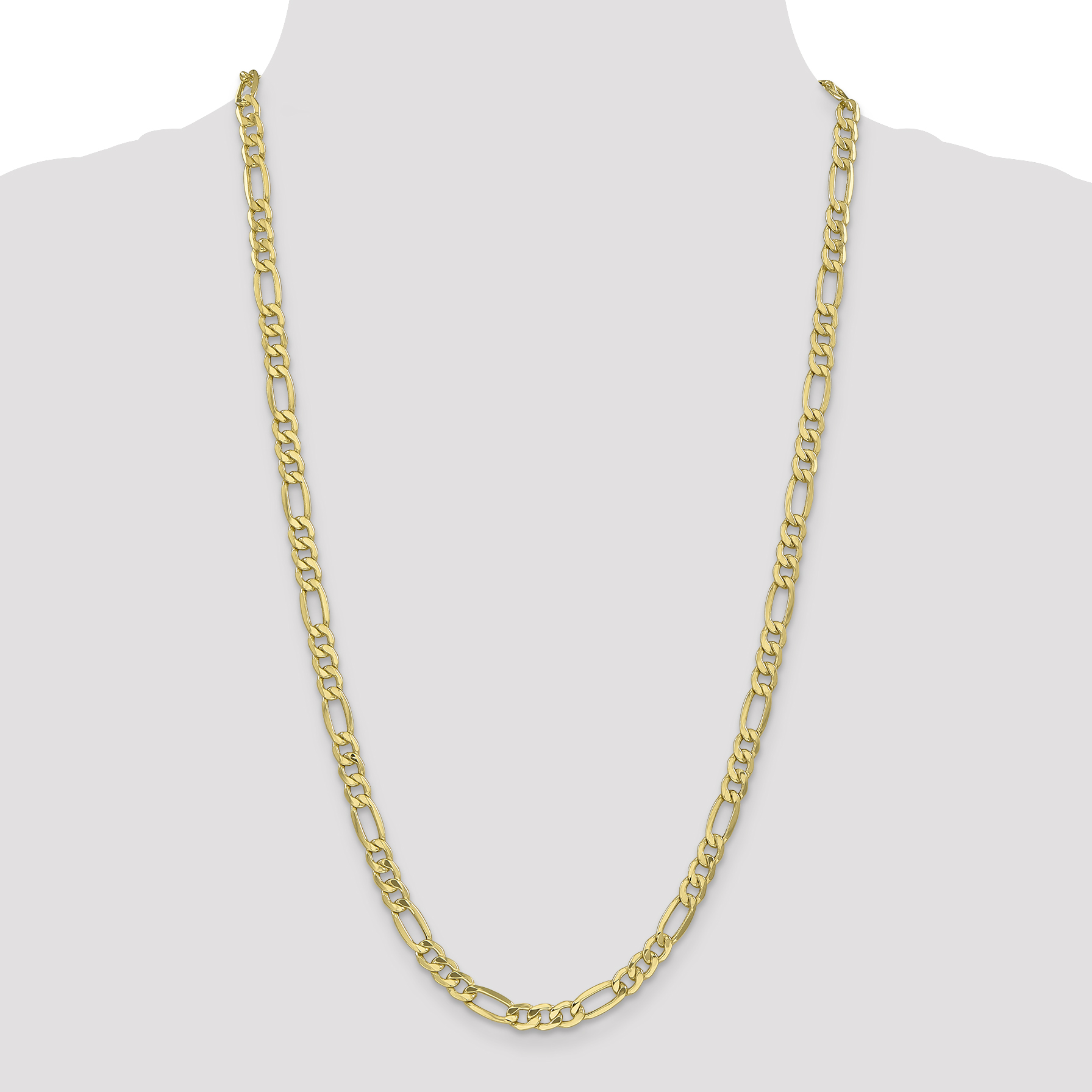 10K Yellow Gold 6mm Semi-Solid Figaro Chain 24 IN - image 4 of 5