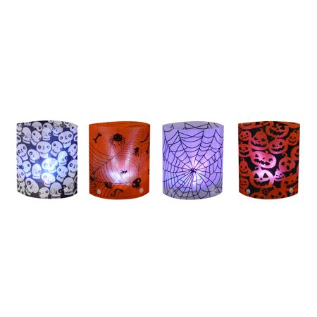 Set of 4 LED Lighted Holographic Halloween Lanterns 6