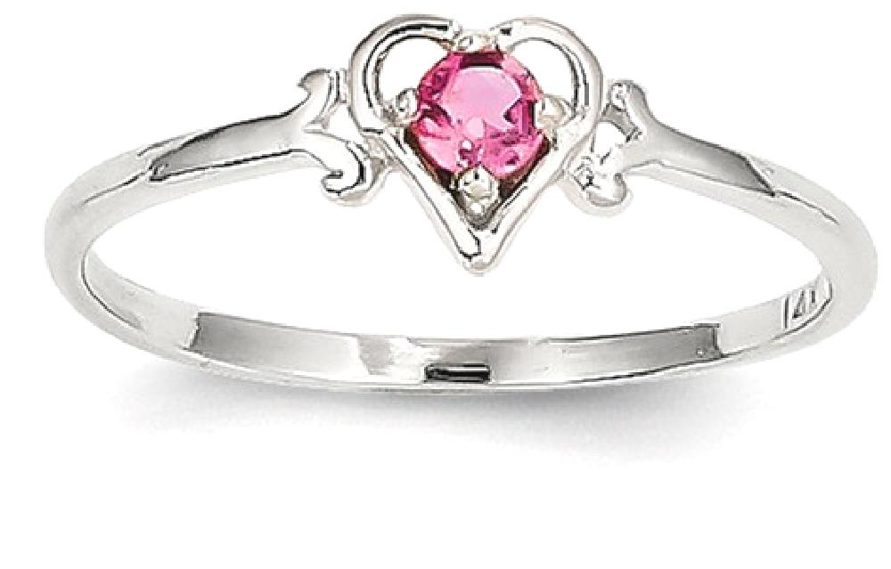 IceCarats 14k White Gold Pink Tourmaline Birthstone Heart Band Ring Size 7.00 S love October Style Fine Jewelry Gift Set... by IceCarats