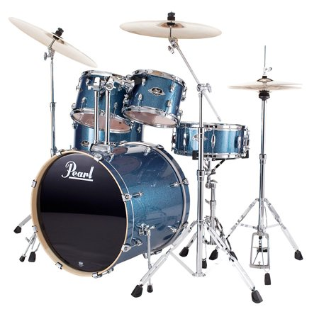 Pearl Export Fusion 5-Piece Drum Set with Hardware Aqua Blue Glitter