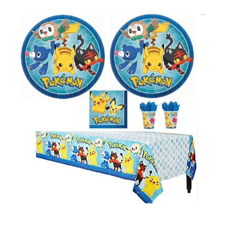 16 Guests Birthday Party Favor Supplies Pack For Pokemon Theme Party With Plates, Beverage Napkins, Tablecover (Birthday Party Theme Supplies)