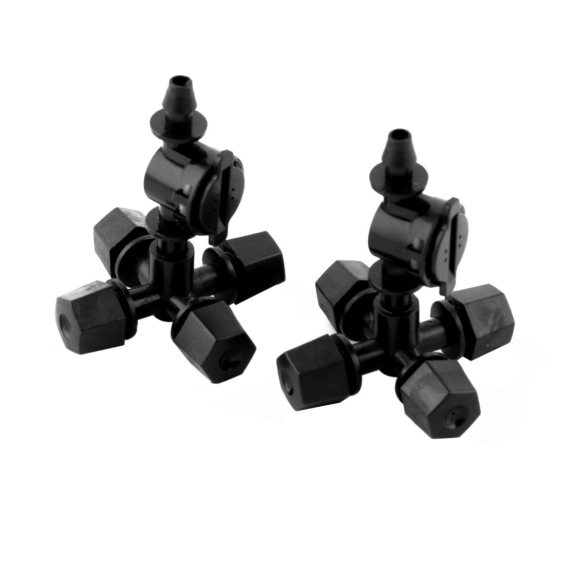 Home Irrigation Plastic 4 Water Outer Antidrip Sprinkler Spray Nozzle Black 2pcs