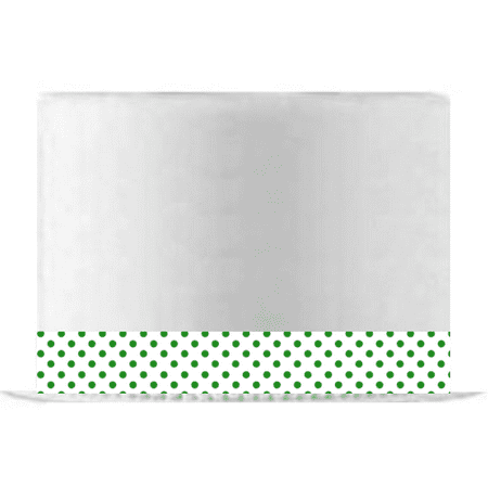 White and Green Polka Dot Edible Cake Decoration Ribbon -6 Slim Strips - Polka Dot Cake