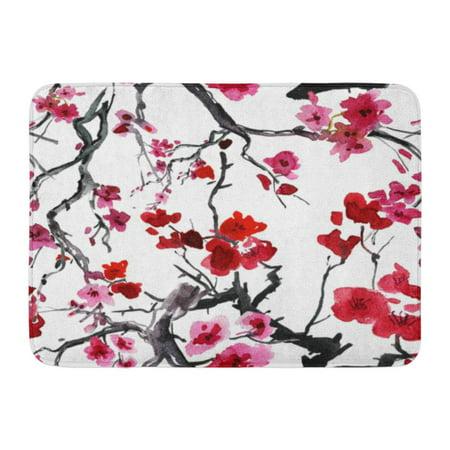 GODPOK Multicolored Purple Flower Realistic Sakura Blossom Japanese Cherry Tree Red Plum Abstract Rug Doormat Bath Mat 23.6x15.7 - Red Cherry Blossom