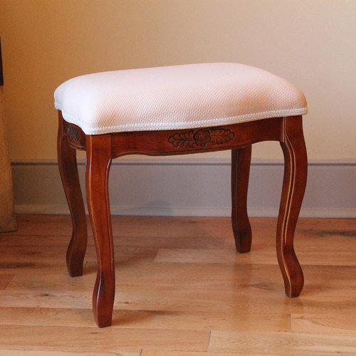 International Caravan Hand Carved Stool with Cushioned Seat