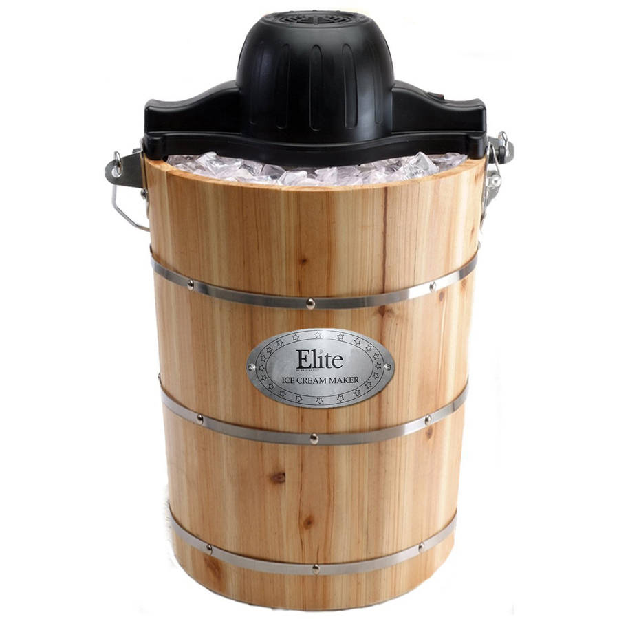 Maxi Matic Elite Gourmet 6 qt Old Fashioned Pine Bucket Electric Manual Ice Cream Maker, Wood