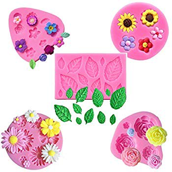 5Pcs/Set Mini Flower & Leaf Fondant Molds, Rose Daisy Sunflower Silicone Gumpaste Molds for Cake Cupcake Topper Decoration Small Leaves Chocolate Candy Polymer Clay Resin Crafting Projects Tools