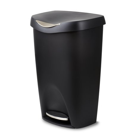 (Umbra Brim Large Kitchen Trash Can with Stainless Steel Foot Pedal – Stylish and Durable 13 Gallon Step Garbage Can with Lid, (Black))