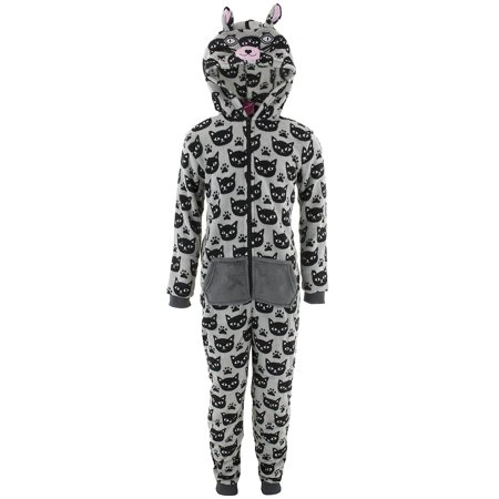 Girls Holiday Pajamas (Chili Peppers Girls Cat Print Hooded Critter One-Piee Pajamas (Little Girls & Big)
