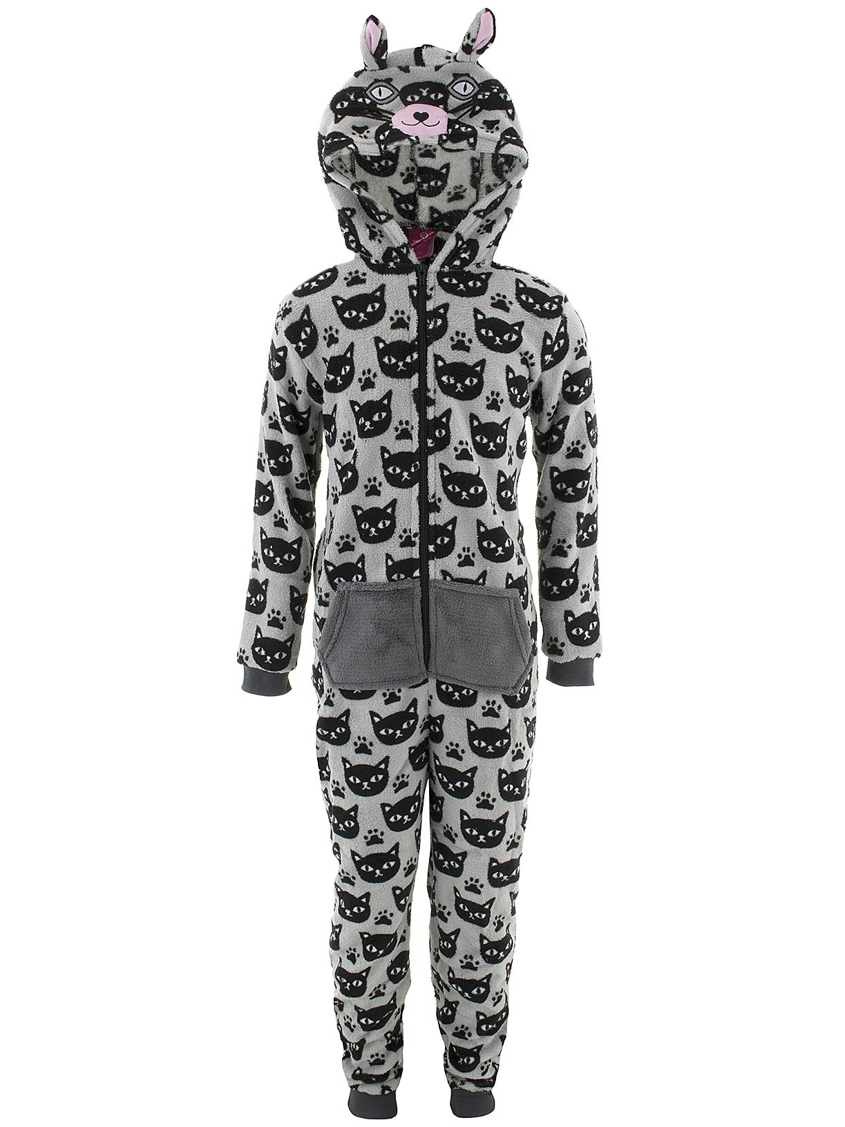 Chili Peppers Girls Cat Print Hooded Critter One-Piee Pajamas (Little Girls & Big Girls)