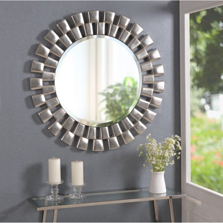 This Contemporary Silver Beveled Round Wall Mirror Will Be ...