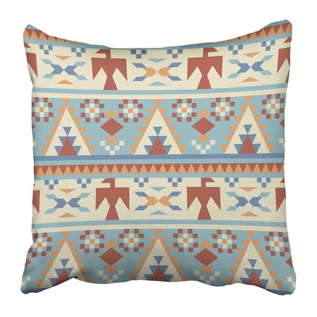 ECCOT Blue Tribal in Native American Style 2 Orange Aztec Navajo Peru Peruvian Apache Wild Pillowcase Pillow Cover 20x20 inch ()